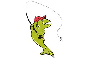 Trout Fly Fishing Rod Hook Cartoon