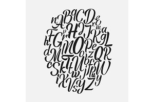 Hand drawn lettering font. Brush script calligraphy cursive type. Handwritten vector aphabet.