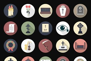 Funeral icons in flat style