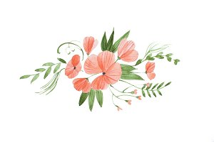 Hand-drawn watercolor sketch of beautiful bridal bouquet composed of fresh pink flowers and leaves