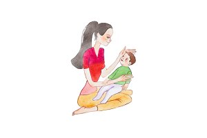 Aquarelle hand-painted drawing of young mother sitting on floor holding her baby son stroking his head