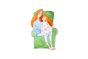 Watercolor illustration of ginger family. Young mother reading a book to her son sitting on her lap
