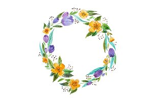 Isolated hand painted watercolor floral coronet made of delicate flowers and foliage