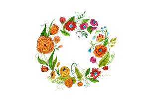 Watercolor illustration of floral diadem made of orange, red and pink flowers