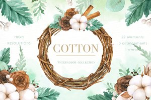 Cotton Watercolor Cliparts