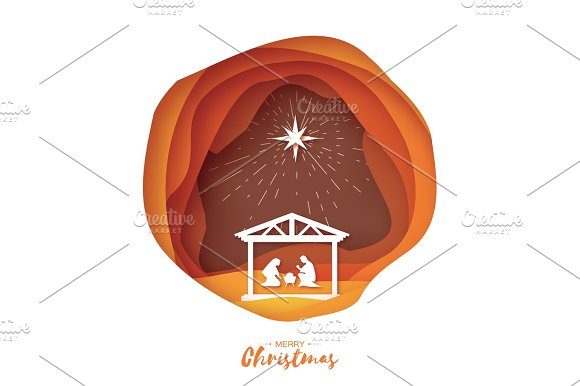 Birth Of Christ Baby Jesus In The Manger Holy Family Magi S Star Of Bethlehem East Comet Nativity Christmas Graphics Design In Paper Cut Style Vector