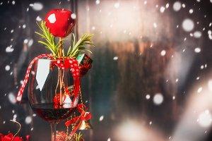 Glass of wine for Christmas dinner