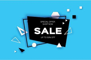 Sale. Trendy Geometric elemets and frame in paper cut style. Discount. For brochure, flyer or presentations design. Simple geometry. Blue background. Vector