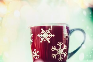 Red Snowflakes mug of tea
