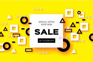 Sale. Trendy Geometric elemets and frame in paper cut style. Discount. For brochure, flyer or presentations design. Simple geometry. Yellow background. Vector
