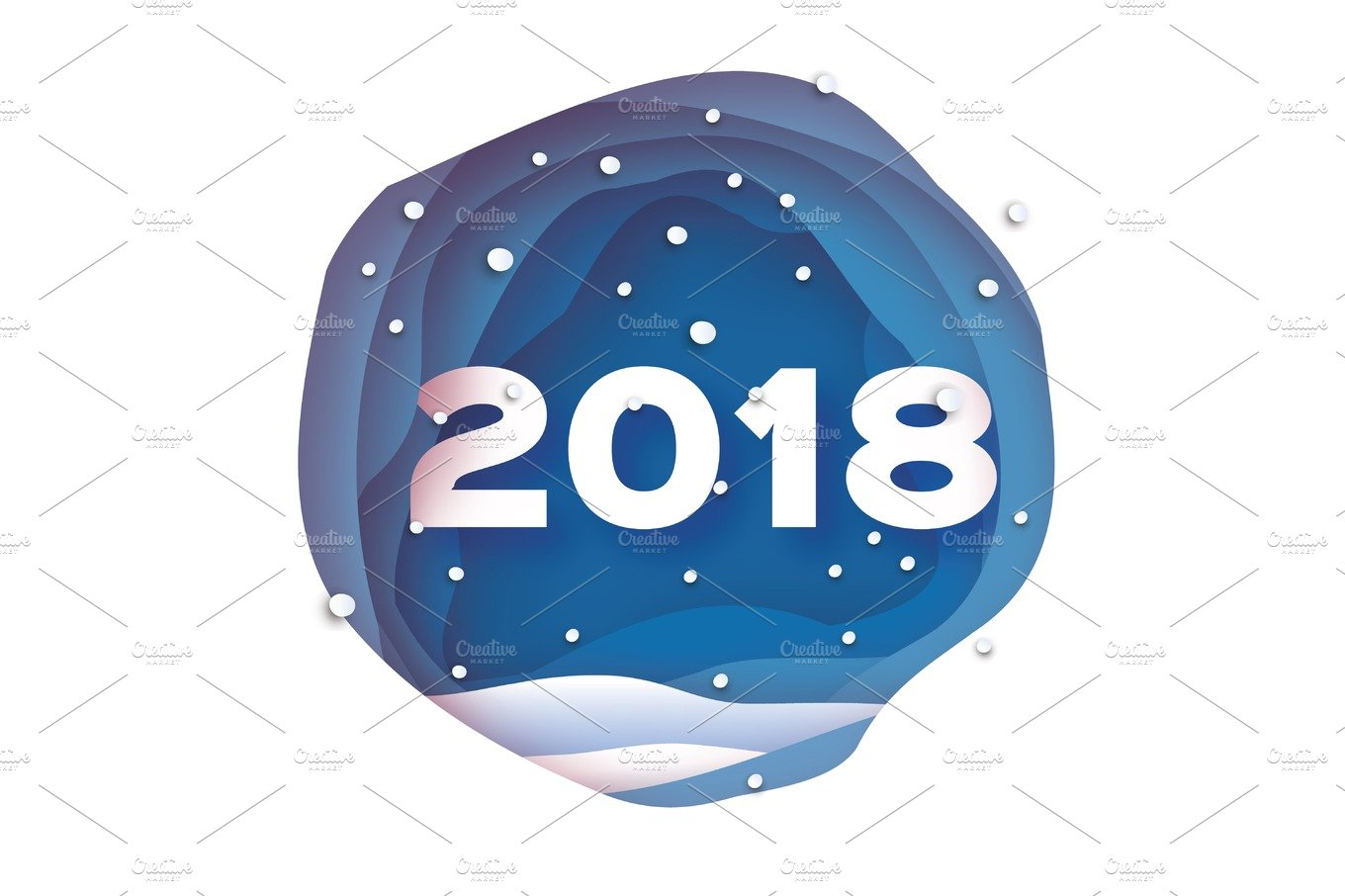 2018 Happy New Year Background Blue Greetings Card For