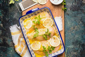 Lemon Chicken in baking dish