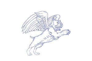 American Bully With Wings Drawing