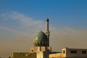 Exterior view of Albunneya Mosque, Baghdad Iraq