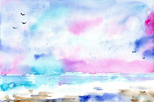 Watercoloe sea breeze sunset