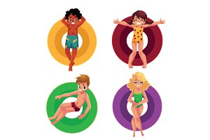 Black and Caucasian children, kids floating, swimming on inflatable rings