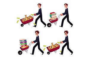 Businessman pushing wheelbarrow full of money bags, book, document folders