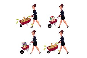 Businesswoman pushing wheelbarrow full of money bags, book, document folders