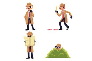 Detective character with magnifying glass, disguising, spying from a bush