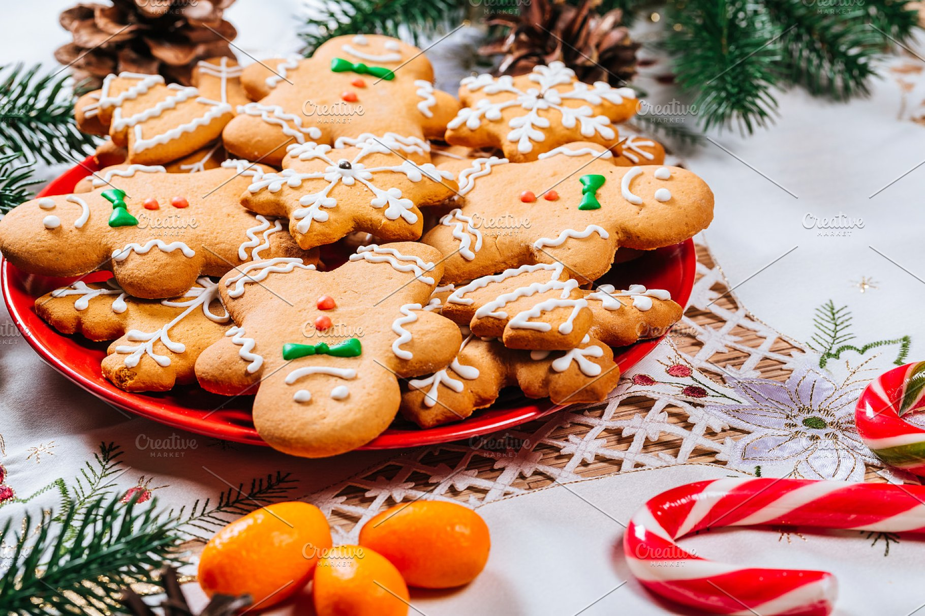 Christmas Gingerbread Cookies Homemade On Red Plate With Branches Of Christmas Tree And Decor On Home New Year Table Merry Christmas Postcard