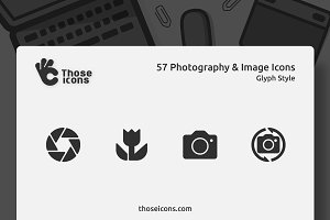 57 Photography & Image Glyph Icons
