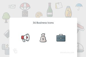 56 Business Outline Color Icons