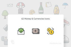 62 Money & Currencies Color Icons