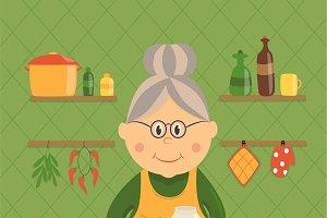 Housewife Cooking Jam Design