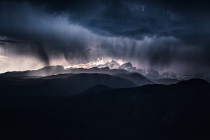 Storm moving above the Julian Alps