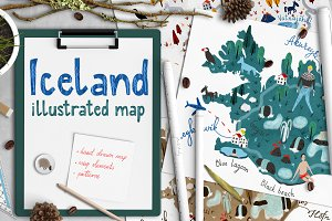 Icy Iceland :: illustrated map