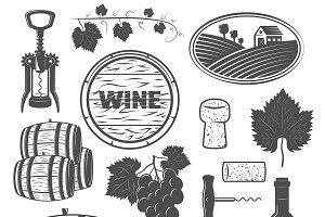 Wine Monochrome Objects Set