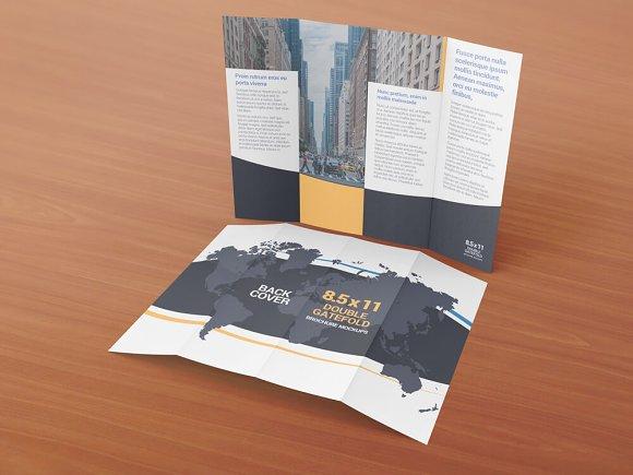 85x11 Gatefold Brochure Mockups Product Mockups Creative Market – Gate Fold Brochure Mockup