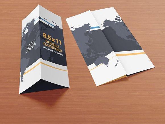 8 5x11 gatefold brochure mockups product mockups creative market
