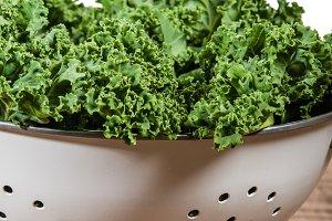 Curly kale in colander