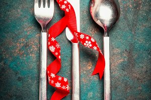 Christmas setting with cutlery