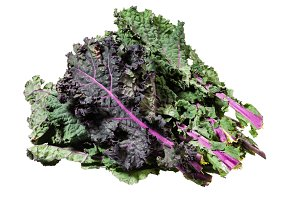 Red kale leaves isolated