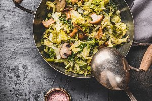 Dish with cabbage and mushrooms