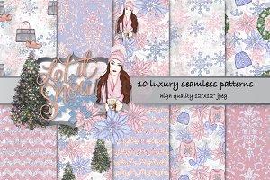 Winter fashion seamless patterns