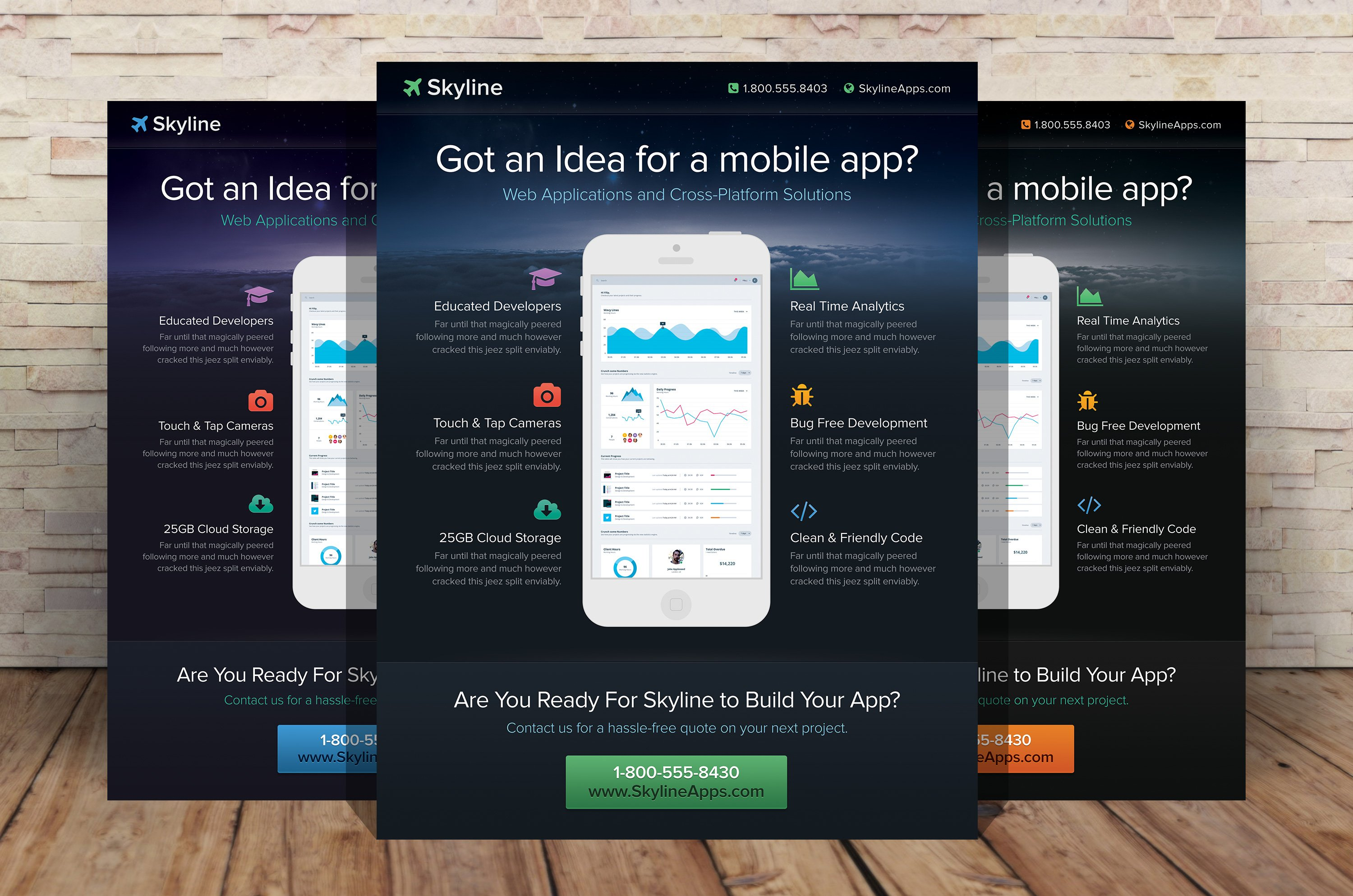 Mobile App Flyer Template Flyer Templates Creative Market - Electronic flyers templates