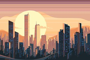 Sunrise landscape in city