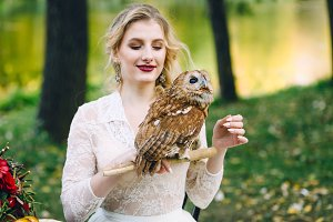 The owl sits on the girl's hand. Soft focus on owl. The bride with the owl.
