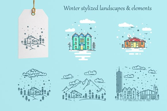 Winter lanscapes - linear style