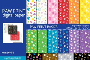 Paw Print patterns/digital paper