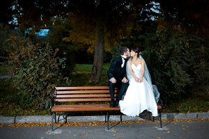 Wedding couple sits in the park