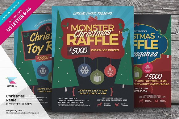Christmas raffle flyer templates flyer templates creative market christmas raffle flyer templates flyers pronofoot35fo Image collections
