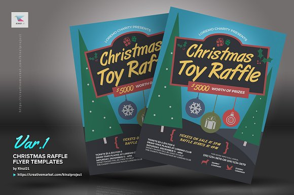 christmas raffle flyer templates flyer templates creative market