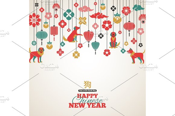 2018 chinese new year greeting card illustrations creative market 2018 chinese new year greeting card illustrations m4hsunfo