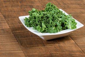 Bowl of chopped green kale