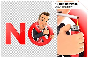 3D Businessman No Smoking Concept