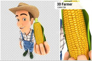 3D Farmer Holding Corn Cob